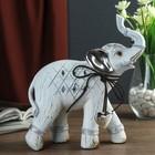 """Сувенир полистоун """"Слон с серебристыми ушами с сердцем на шее - хобот вверх"""" 20,2х19,2х7см"""