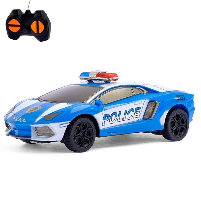 Машина радиоуправляемая «Дорожный патруль», работает от батареек, цвет синий