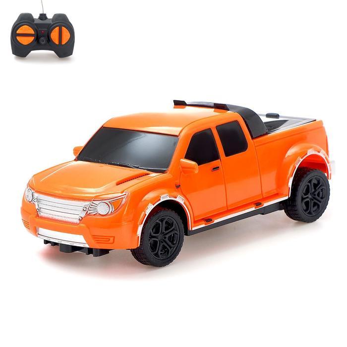 Машина радиоуправляемая «Пикап», работает от батареек, цвет оранжевый
