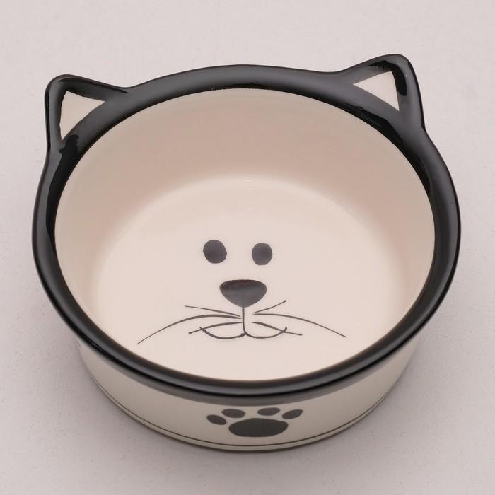 """Миска керамическая """"Подмигивающий кот"""" 150 мл, бело-черная - быстрая доставка"""
