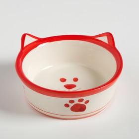 """Миска керамическая """"Подмигивающий кот"""" 150 мл, бело-красная"""