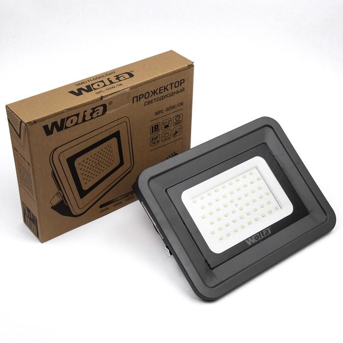 Прожектор светодиодный WOLTA WFL-50W/06, 50 Вт, 5500K, SMD, IP 65, цвет серый, слим