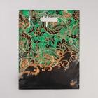 """Пакет """"Узор на малахите"""", полиэтиленовый с вырубной ручкой, 31 х 40 см, 55 мкм - фото 308983538"""
