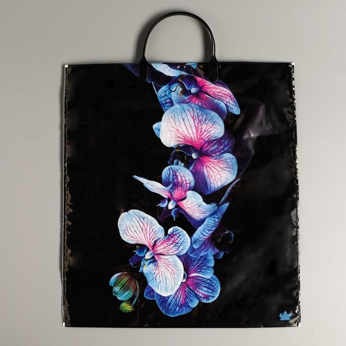 """Пакет """"Голубая орхидея"""", полиэтиленовый с пластиковой ручкой 44 х 40 см, 100 мкм - фото 288287990"""