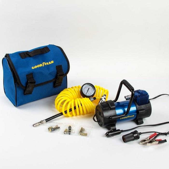 Компрессор Goodyear GY-40L, 40 л/мин, со съемной ручкой, съемный витой шланг, с сумкой