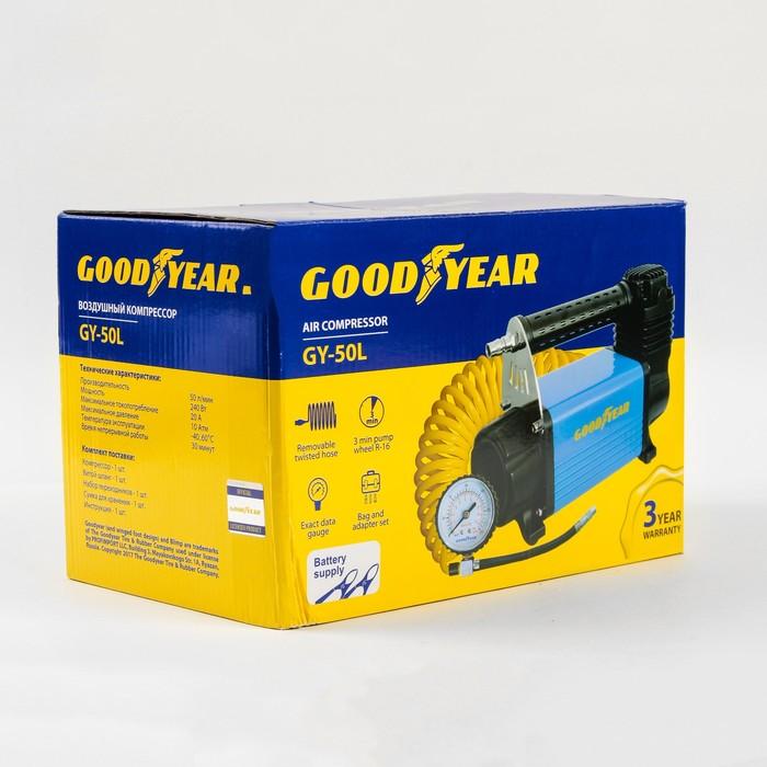 Компрессор Goodyear GY-50L, 50 л/мин, питание от АКБ, съемный витой шланг, с сумкой