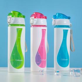 Бутылка для воды 500 мл, вставки из пластика, крышка на кнопке, микс, 6.5х22 см