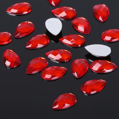 Стразы плоские (набор 20 шт), капля 8*13 мм, цвет красный