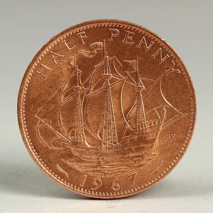 """Монета """"1/2 пенни 1967 Великобритания UNC"""""""