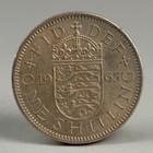 """Монета """"1 шиллинг 1965 Великобритания Английский герб - 3 льва внутри коронованного щита"""""""