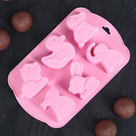 Форма для льда и шоколада 17×10 см «Животные», 6 ячеек (4,5×4,2 см), цвет МИКС