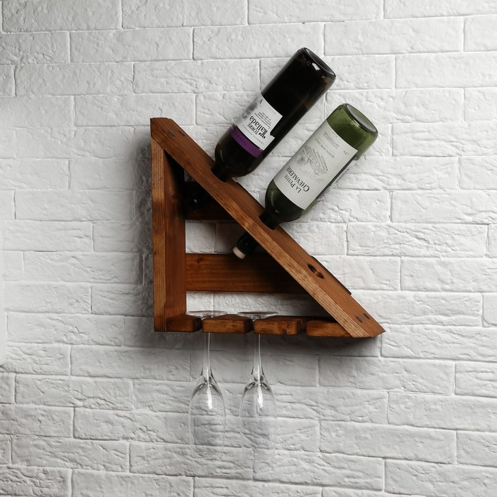 """Полка для вина """"Уголок Луиджи"""", массив сосны, 20 х 30 см"""