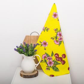 Полотенце вафельное набивное 'Вишни', желтый 40х70 см 160 гр/м хлопок Ош