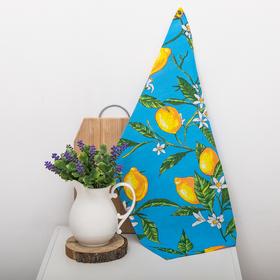Полотенце вафельное набивное 'Лимон', синий 40х70 см 160 гр/м хлопок Ош