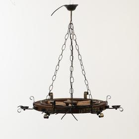Люстра деревянная 'Колесница', 6 ламп, 73 см Ош
