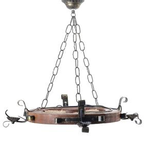 """Люстра деревянная """"Колесница"""", 4 лампы, 60 см"""