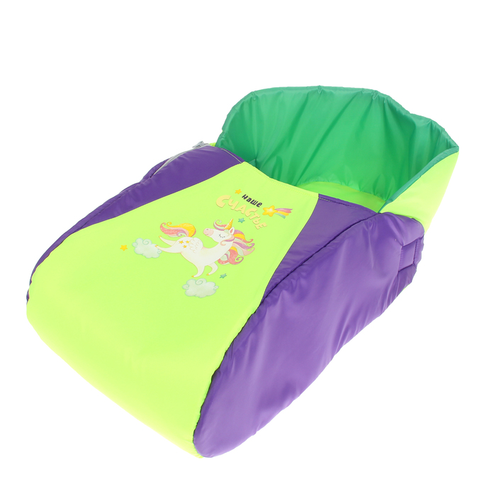 Матрас со съёмным чехлом «Наше счастье», цвет салатово-фиолетовый