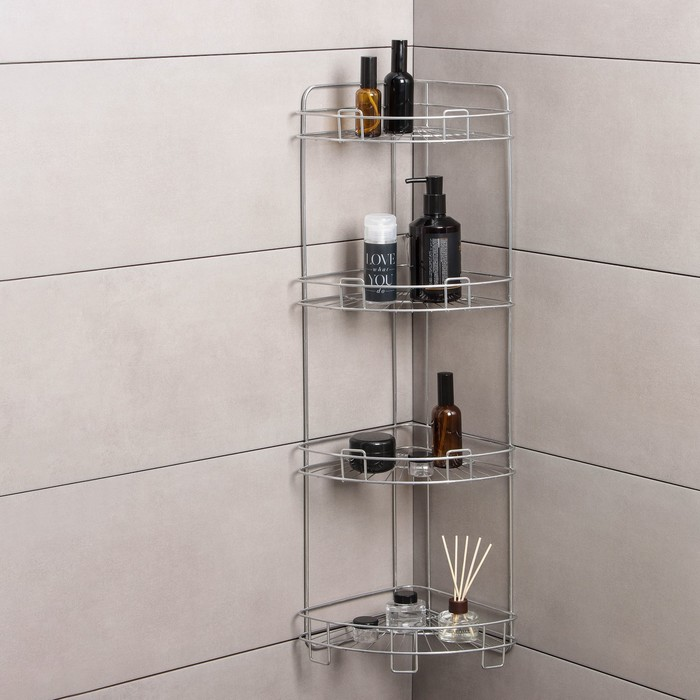 Полка угловая 4-х ярусная, 24×31×86 см, цвет хром зеркальный