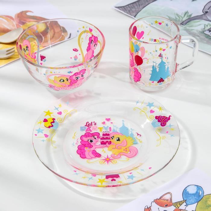 Набор My Little Pony, 3 предмета: кружка 250 мл, салатник 13 см, тарелка 19,5 см, в подарочной упаковке