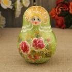 Неваляшка «Матрёшка», золотой кокошник, зелёное платье