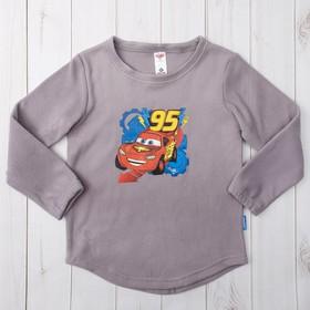 """Джемпер для мальчиков """"95"""" Тачки, серый, рост 98-104 (30) см, 3-4 года, флис"""