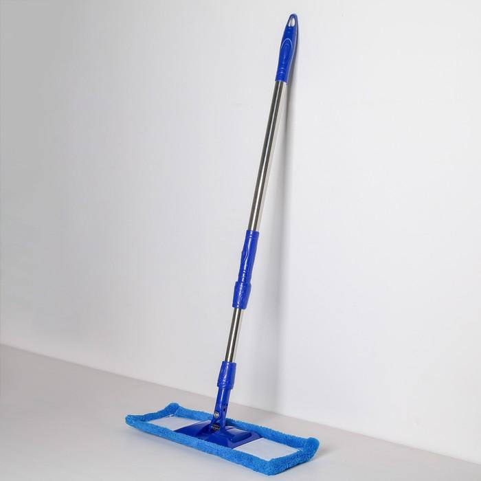 Швабра плоская Доляна «Ocean», телескопическая ручка 77-117 см, насадка микрофибра 40×10 см, цвет синий - фото 4647008