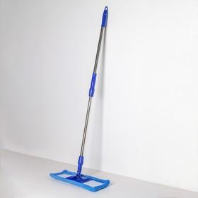 Швабра плоская Доляна «Ocean», телескопическая ручка 77-117 см, насадка микрофибра 40×10 см, цвет синий - фото 4647009