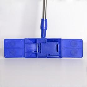 Швабра плоская Доляна «Ocean», телескопическая ручка 77-117 см, насадка микрофибра 40×10 см, цвет синий - фото 4647011