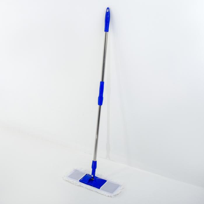 Швабра плоская телескопическая Доляна «Ocean», со стальной ручкой 78-117, микрофибра 42×14 см
