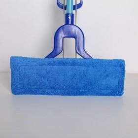 Швабра плоская со складным отжимом Доляна, телескопическая ручка 102-134 см, насадка микрофибра 32×9 см, цвет синий - фото 4647041