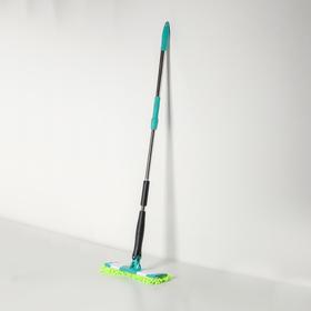 Швабра плоская с отжимом Доляна «Twist», телескопическая ручка 95-120, насадка микрофибра букли 32×9 см, цвет МИКС