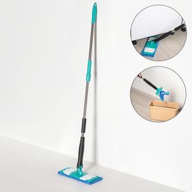 Швабра плоская с отжимом Доляна «Twist», телескопическая ручка 95-120, насадка микрофибра 32×9 см, цвет синий - фото 4647055