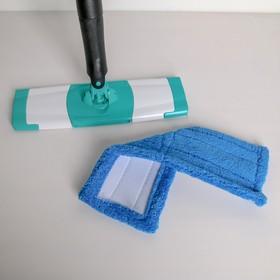 Швабра плоская с отжимом Доляна «Twist», телескопическая ручка 95-120, насадка микрофибра 32×9 см, цвет синий - фото 4647058