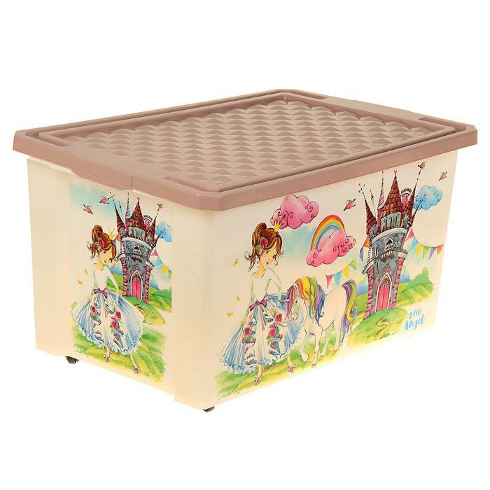"""Ящик для хранения игрушек """"Сказочная Принцесса"""", 57 л, на колёсах"""