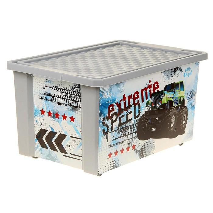Ящик для хранения игрушек «Супер Трак», 57 л, на колёсах - фото 105493841