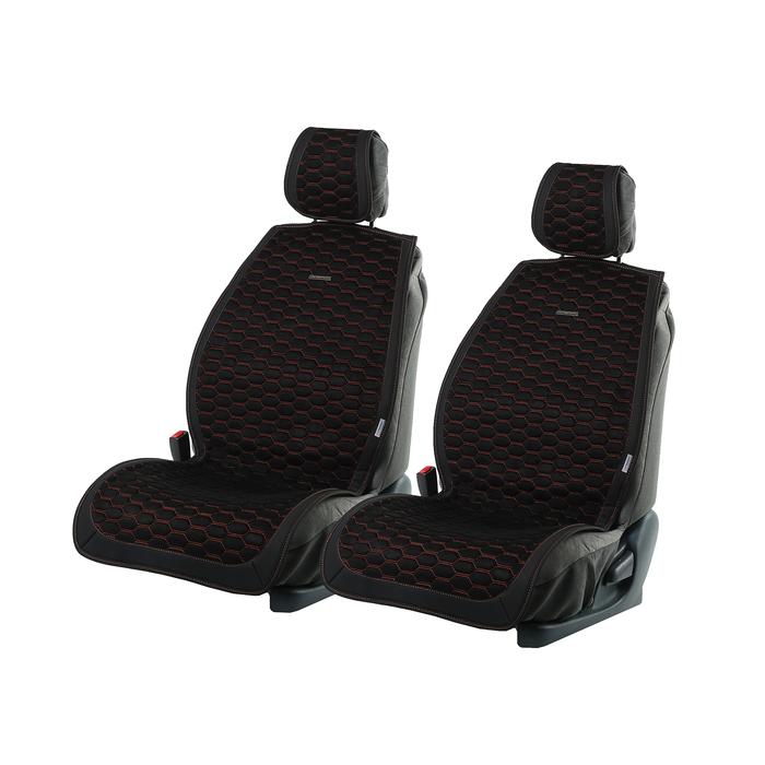 Накидки на передние сиденья CAPRI, экокожа, черно-оранжевый, набор 2 шт.
