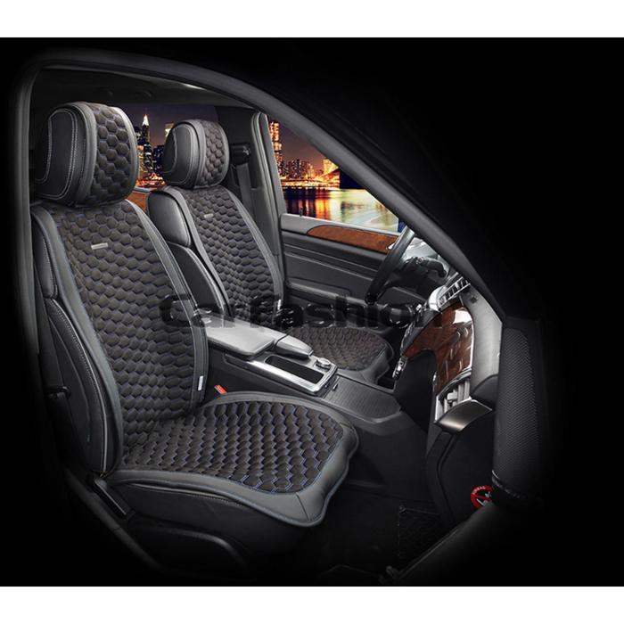 Накидки на передние сиденья CAPRI, экокожа, черно-синий, набор 2 шт.