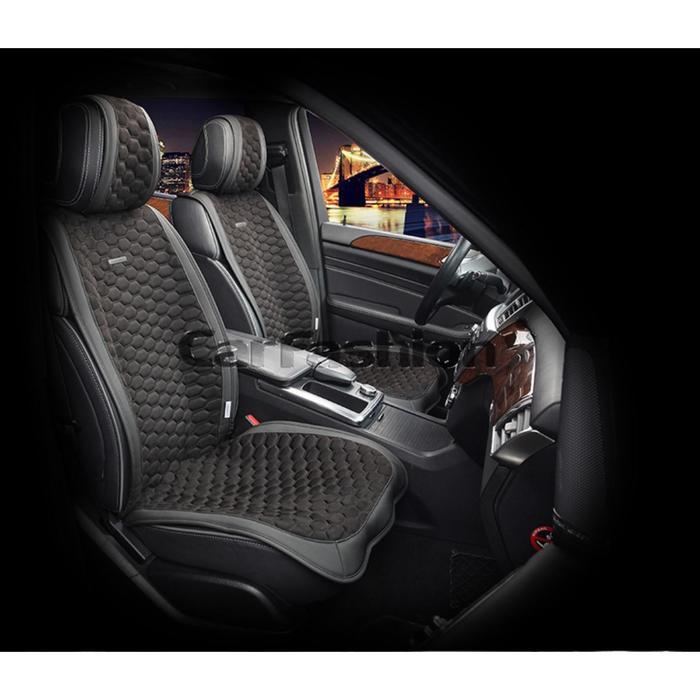 Накидки на передние сиденья CAPRI, экокожа, черный, набор 2 шт.