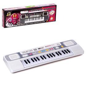 Синтезатор «Весёлая мелодия-2» с микрофоном, 37 клавиш, цвет серебряный