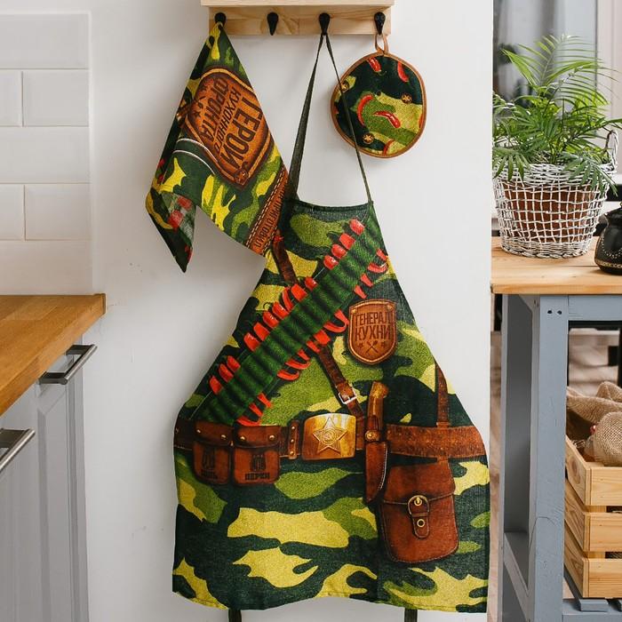 Кух. набор 3 пр. Генерал кухни, фартук 60х70 см, прихватка 20х20 см, полотенце 35х60 см