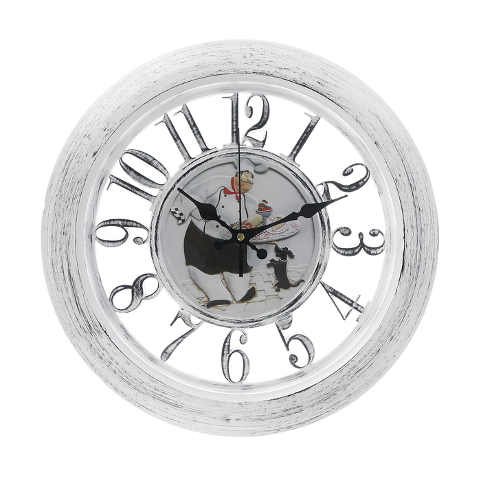 "Часы настенные, серия: Кухня, ""Поварёнок"", круглые, прозрачные, рама белая, d=34 см"