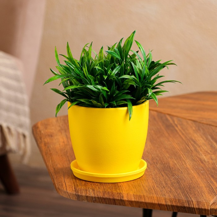 """Цветочный горшок """"Осень"""", глянец, жёлтый, 1 л"""