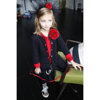 Жакет с цветком для девочки, рост 116 см, цвет чёрный, красный КЛ-17