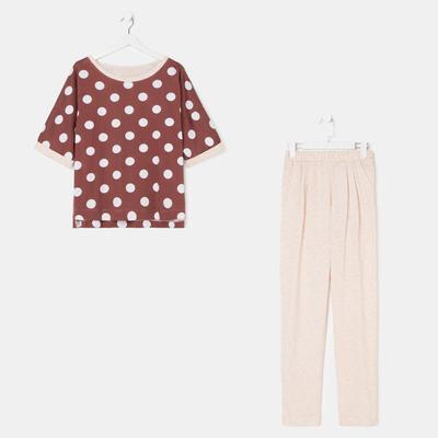 Комплект женский (джемпер, брюки) 679 цвет бежевый, р-р 46