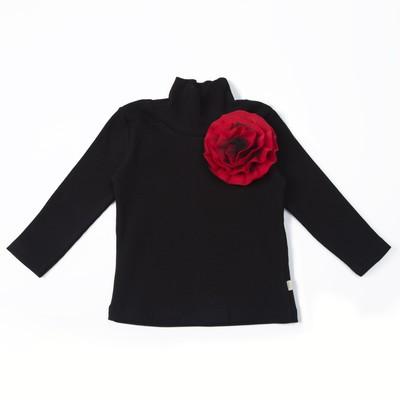 Бадлон с цветком для девочки, рост 104 см, цвет чёрный  КЛ-18