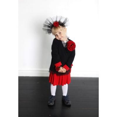 Жакет-кимоно с цветком для девочки, рост 110 см, цвет чёрный/красный