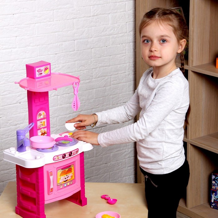 """Игровой модуль """"Кухня"""" с аксессуарами, световые и звуковые эффекты, высота 54 см, БОНУС - вырезная бумажная кукла с одеждой"""