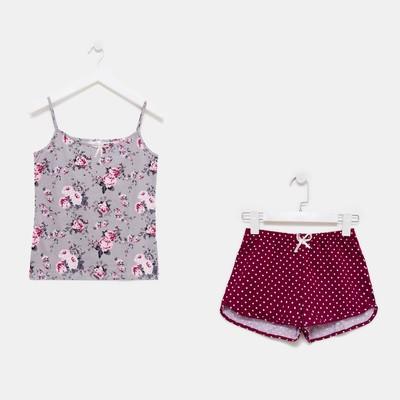 Пижама женская (майка, шорты)  633/2 цвет серый/бордовый, р-р 44