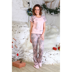 Пижама женская (футболка, брюки) 424 цвет микс, р-р 46
