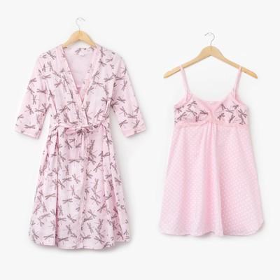 Комплект для беременных и кормящих (сорочка, халат) 630 цвет серый/розовый, р-р 48